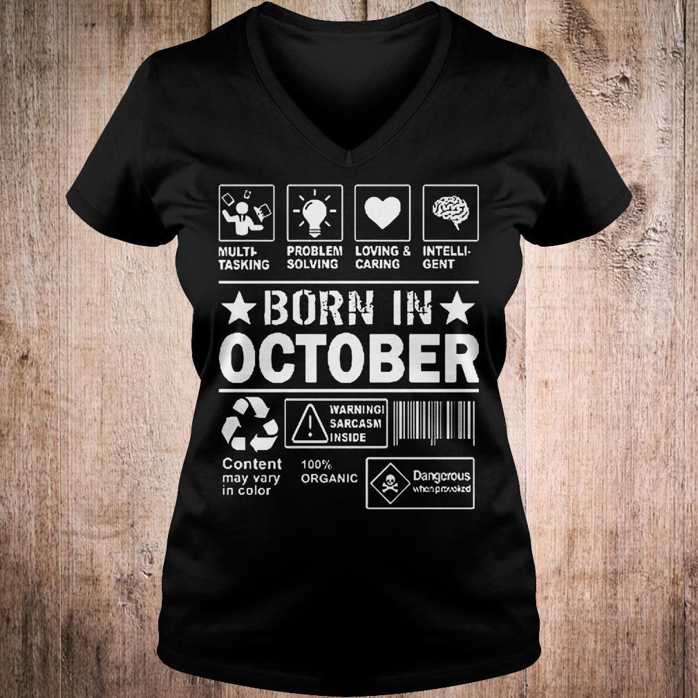 Multi tasking problem solving loving & caring born in october shirt Ladies V-Neck