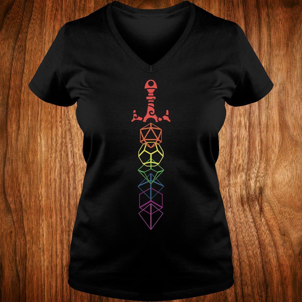 Rainbow dice sword shirt Ladies V-Neck