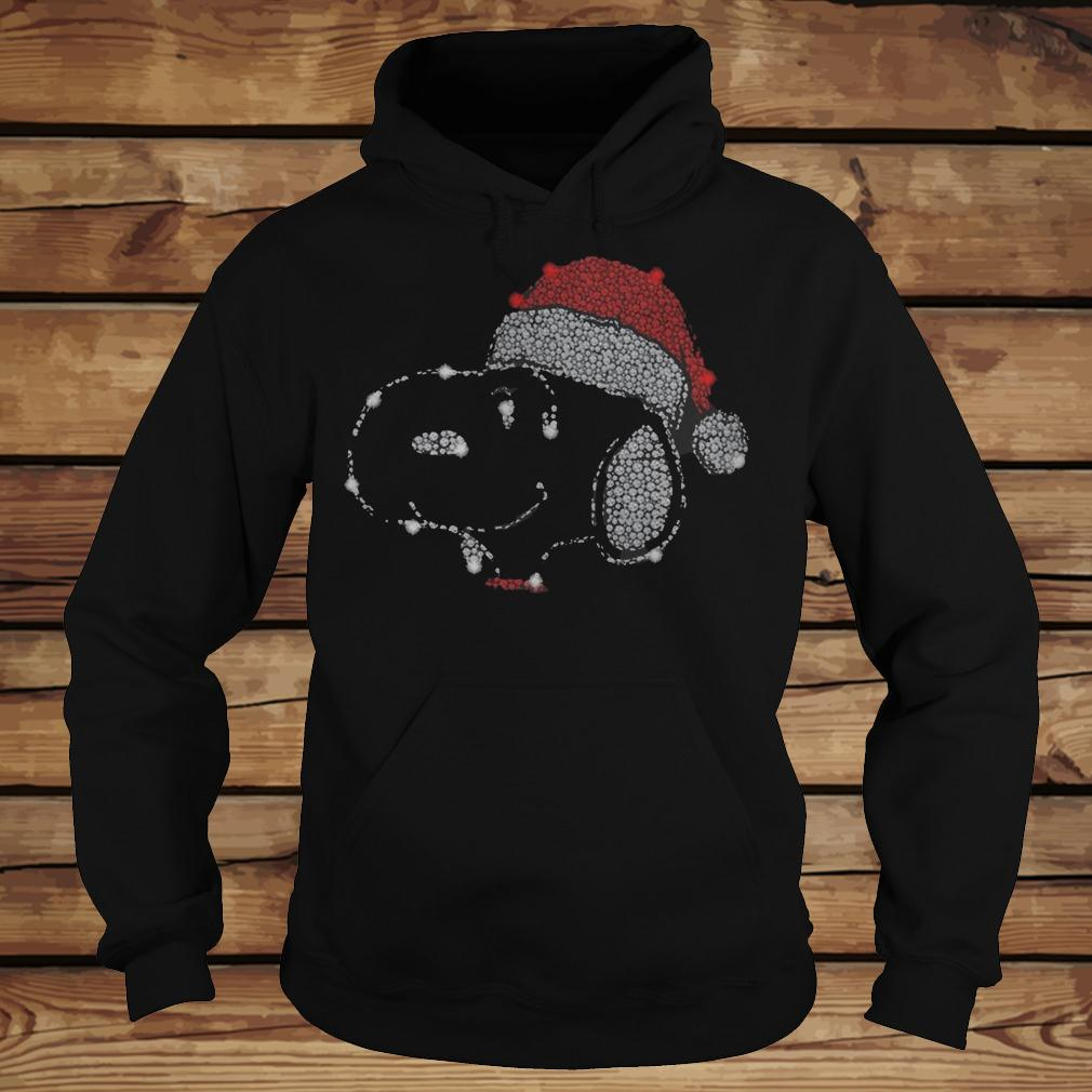 Sparkling Snoopy Dog Wearing Christmas Hat shirt Hoodie