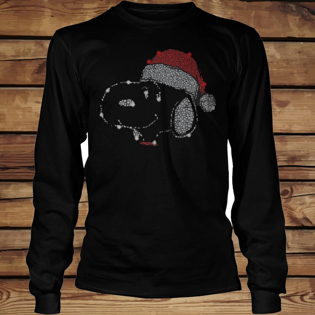 Sparkling Snoopy Dog Wearing Christmas Hat shirt Longsleeve Tee Unisex