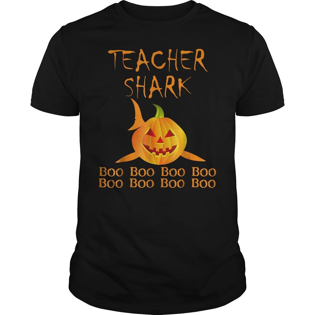 Teacher shark pumpkin halloween shirt