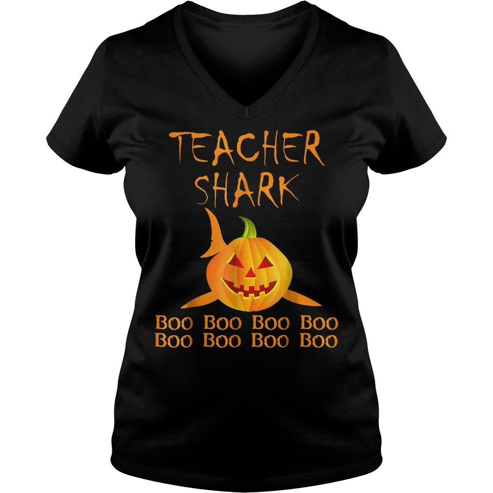 Teacher shark pumpkin halloween shirt Ladies V-Neck