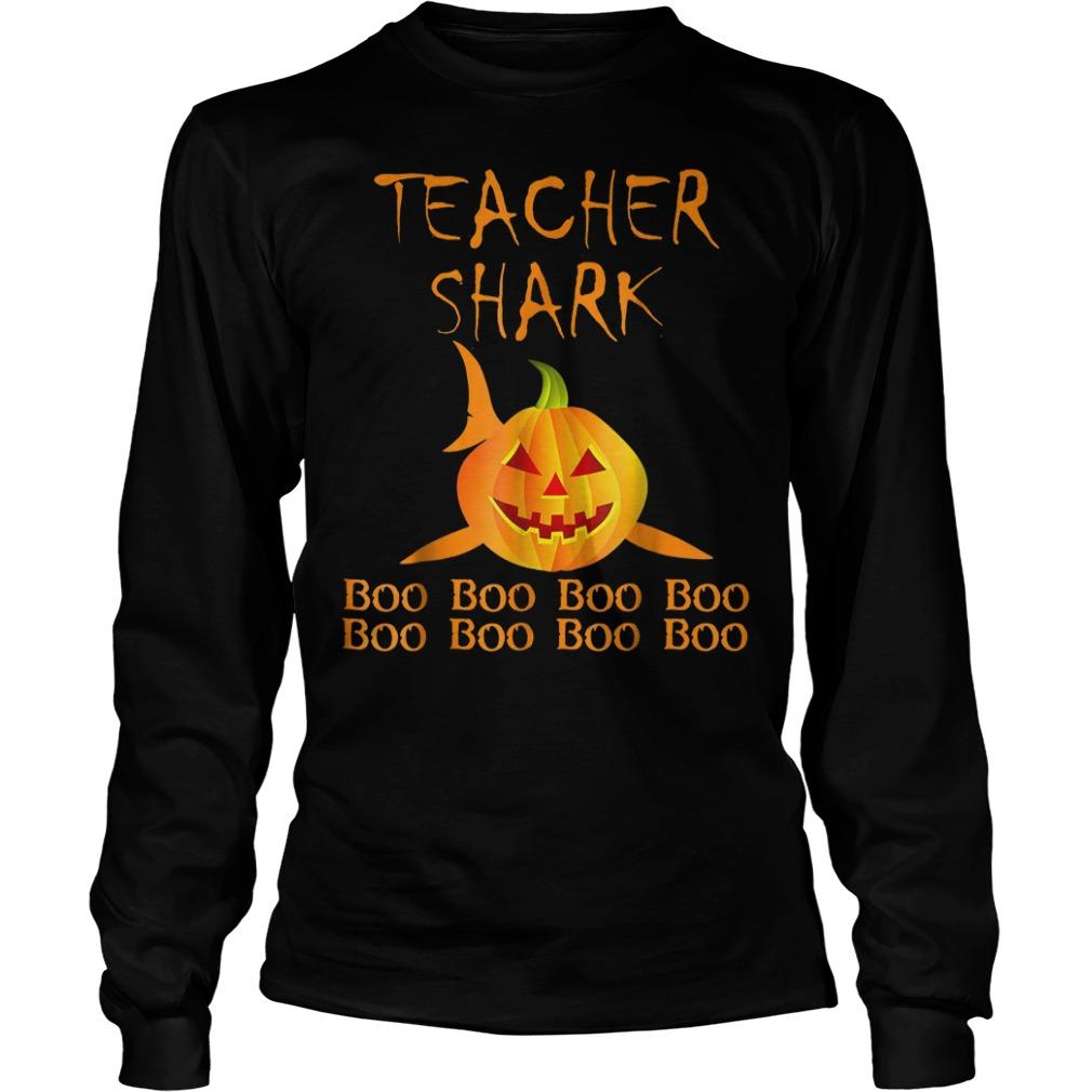 Teacher shark pumpkin halloween shirt Longsleeve Tee Unisex