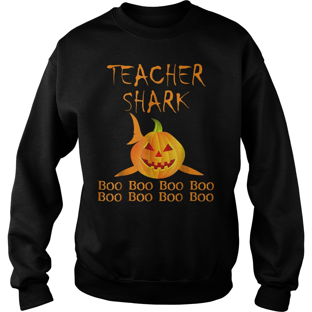 Teacher shark pumpkin halloween shirt Sweatshirt Unisex