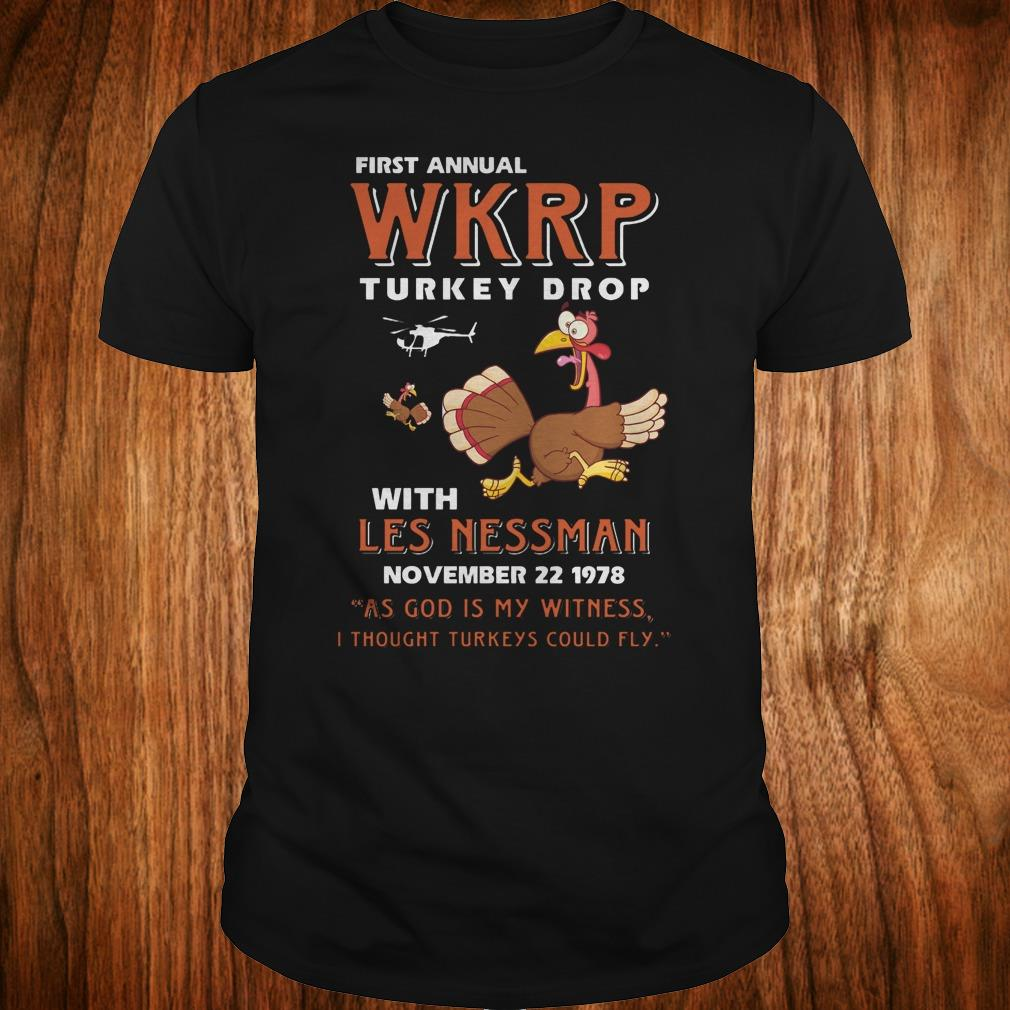 Thankgiving First Annual WKRP Turkey drop with les nessman shirt