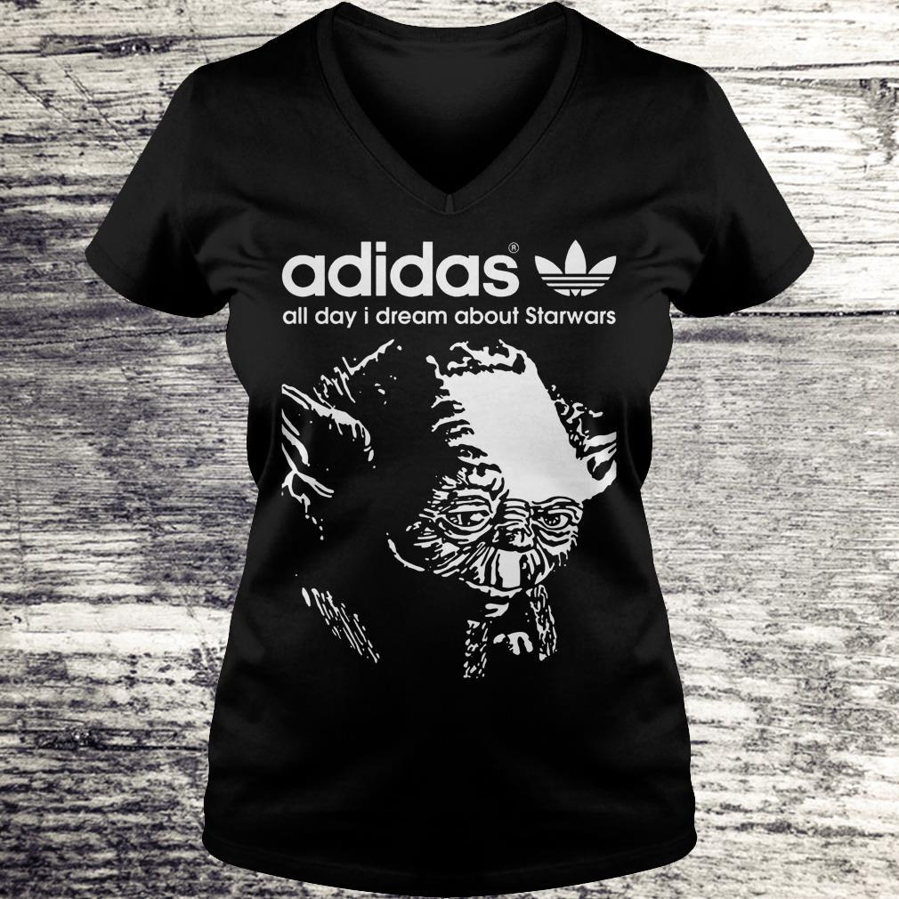 Yoda Adidas All Day I Dream About Star Wars Shirt Ladies V-Neck
