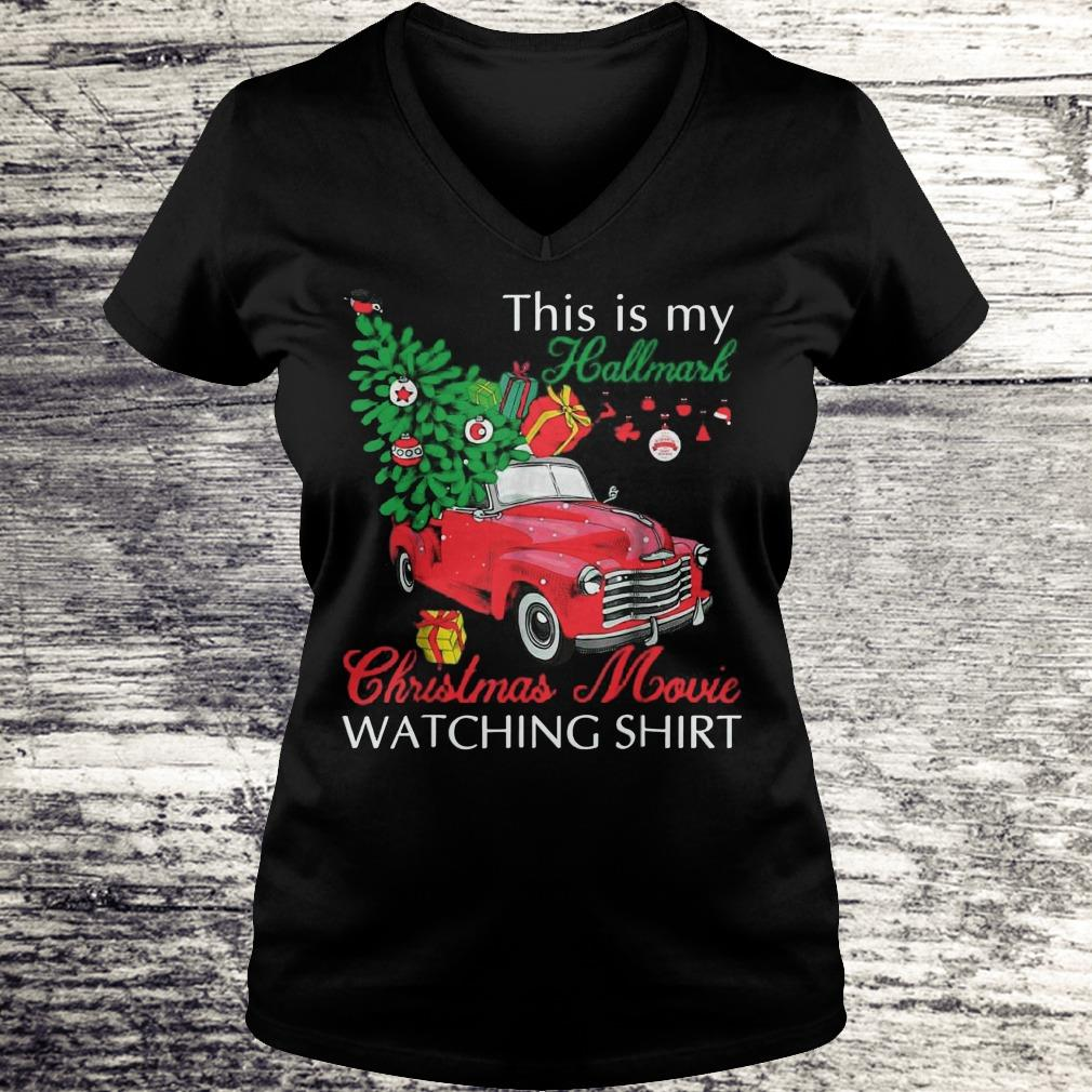 Awesome Red truck This is my Hallmark Christmas Movie Watching shirt sweater Ladies V-Neck
