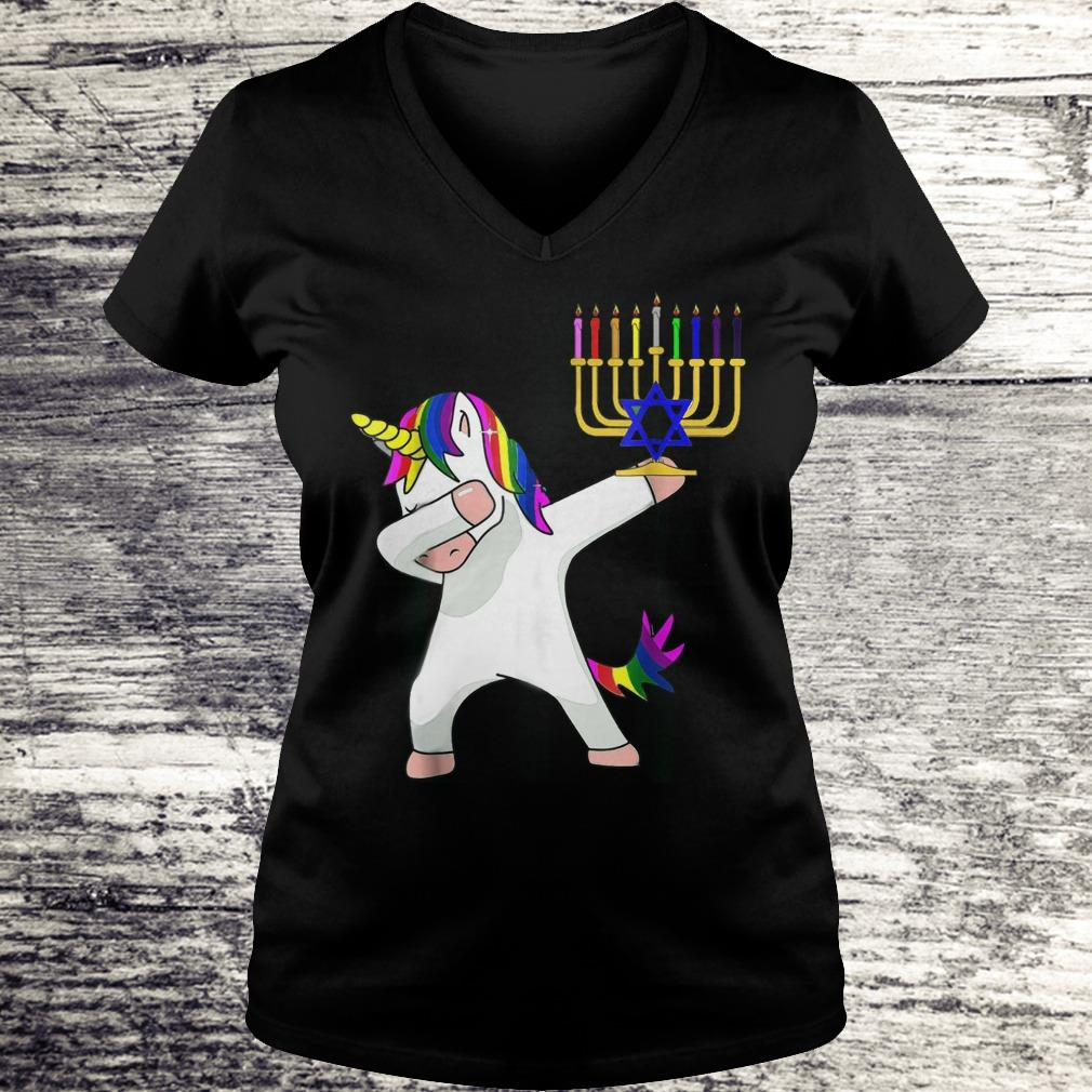 Best price Unicorn Dabbing Hanukkah shirt Ladies V-Neck