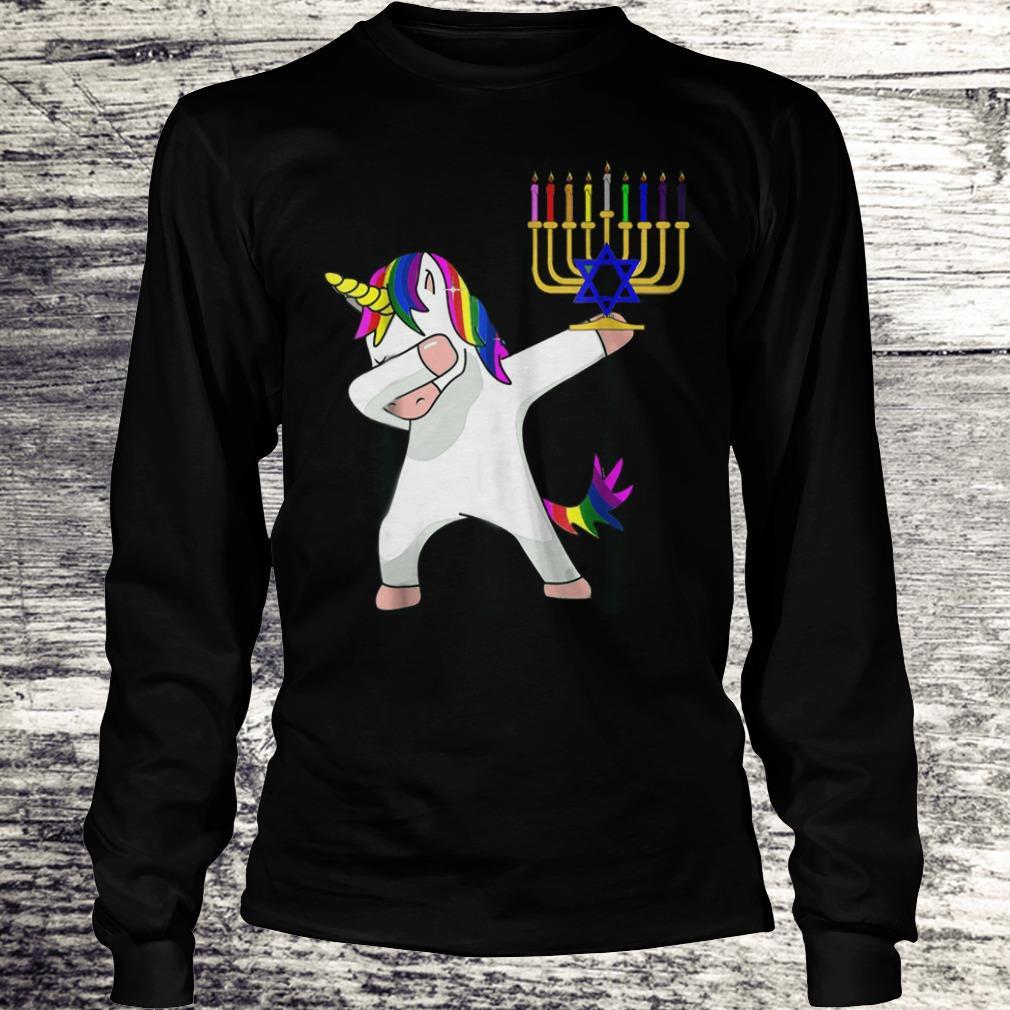 Best price Unicorn Dabbing Hanukkah shirt Longsleeve Tee Unisex