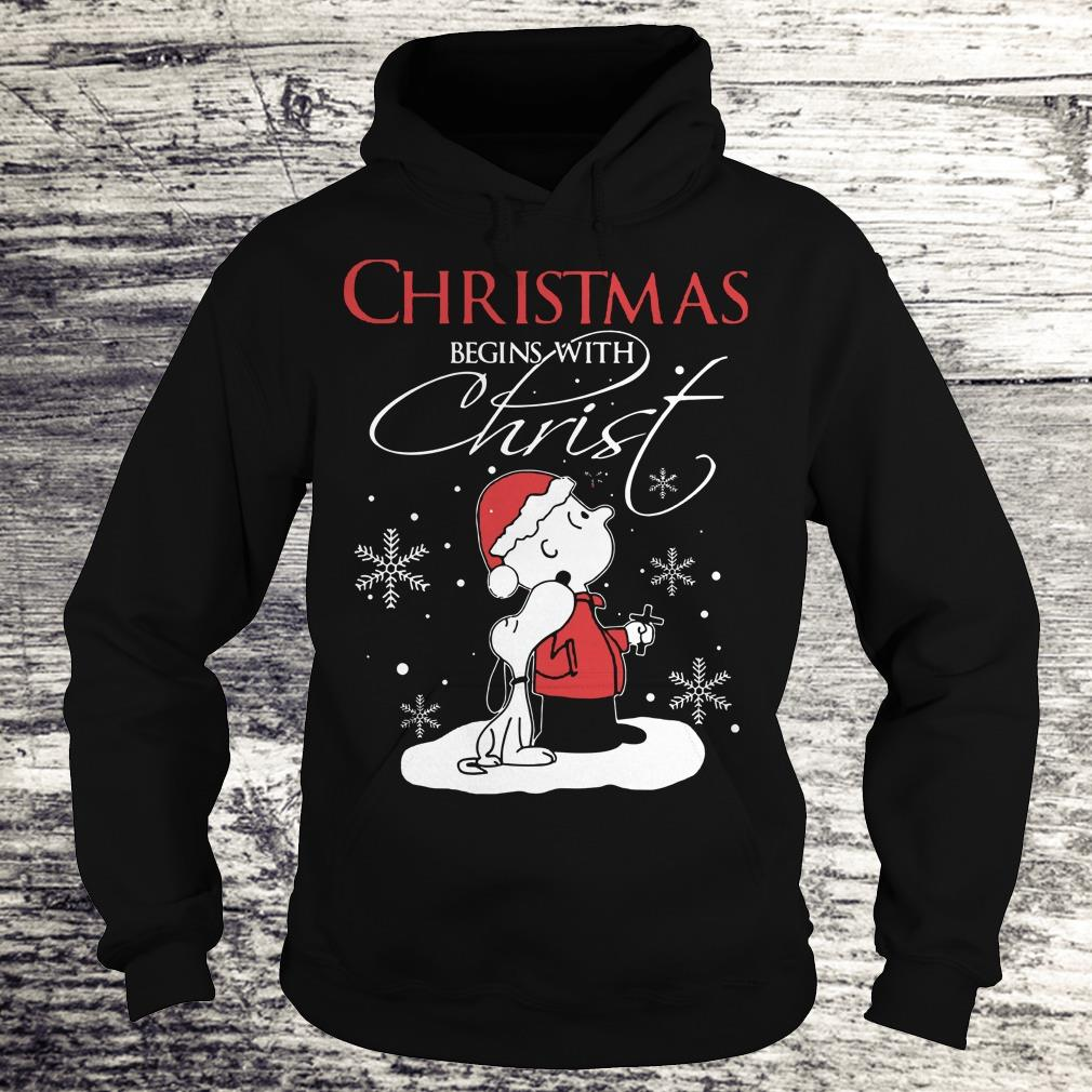 Hot Snoopy and Charlie Brown christmas begins with christ shirt