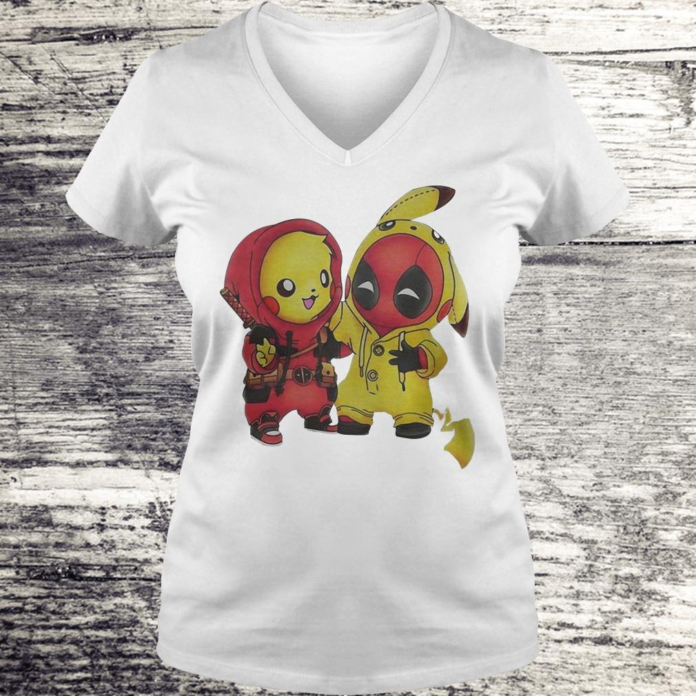 Nice Pokemon Pikachu and Deadpool shirt Ladies V-Neck
