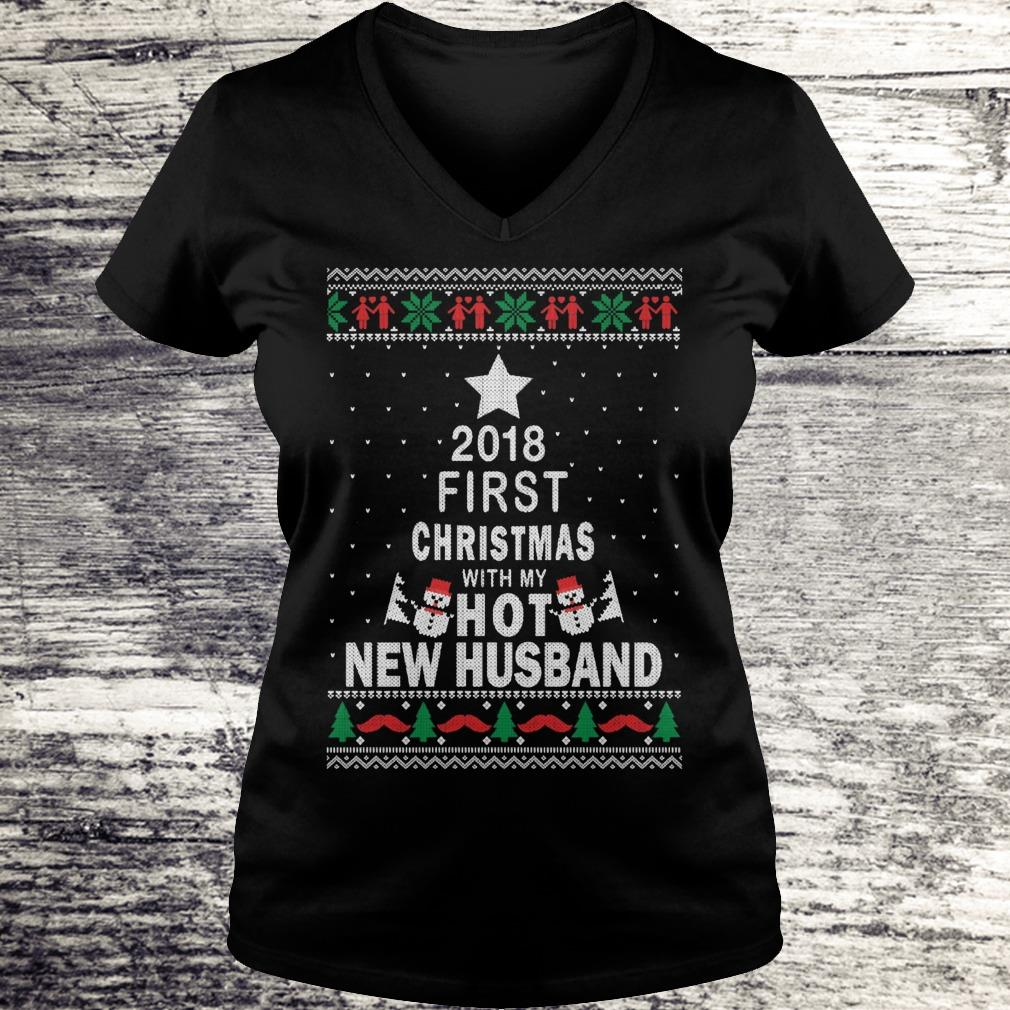 Official 2018 first christmas with my hot new husband shirt Ladies V-Neck