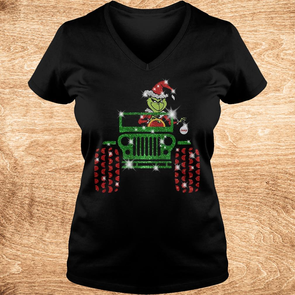 Official Grinch Jeep sparkly glitter shirt Ladies V-Neck