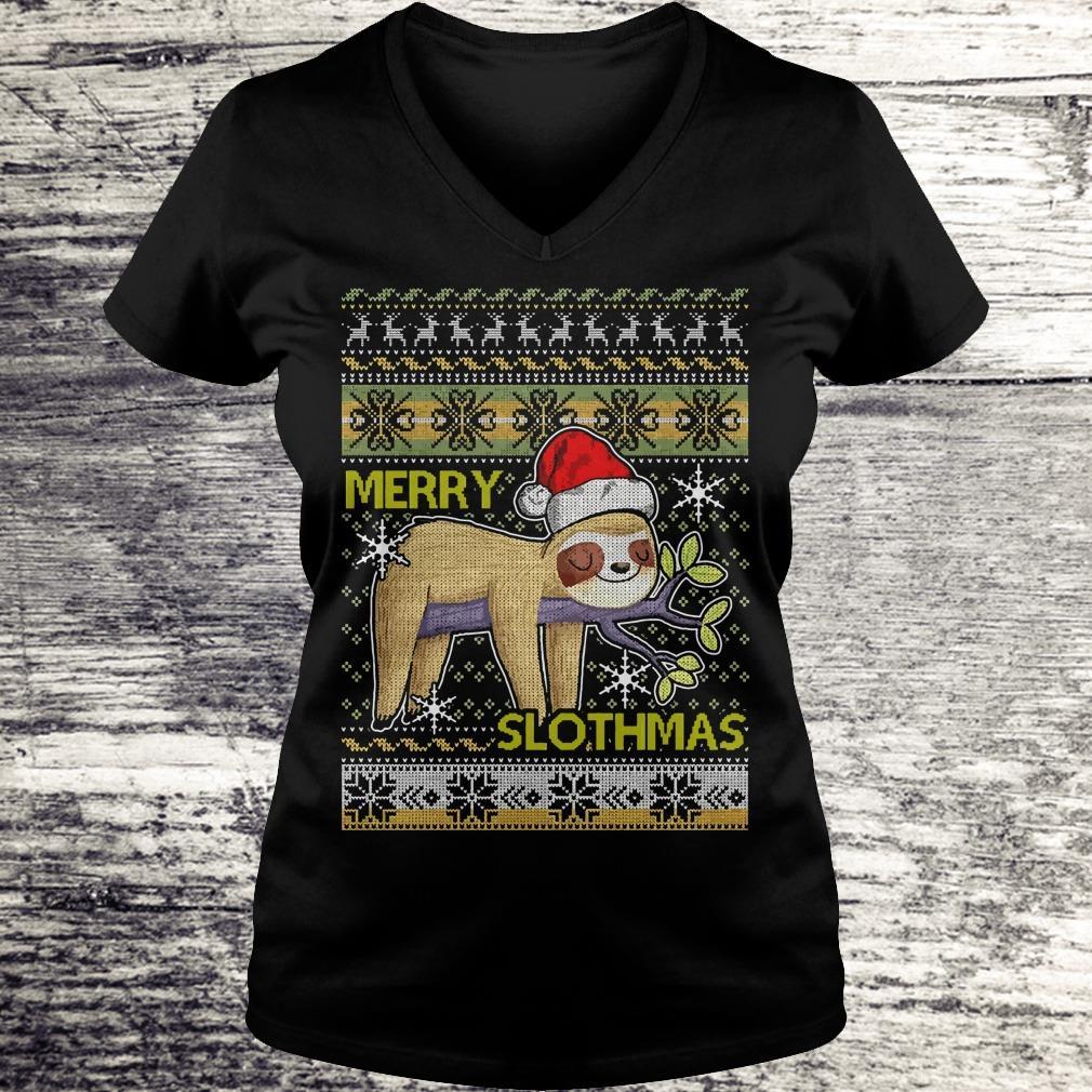 Original Merry Slothmas sweater shirt Ladies V-Neck