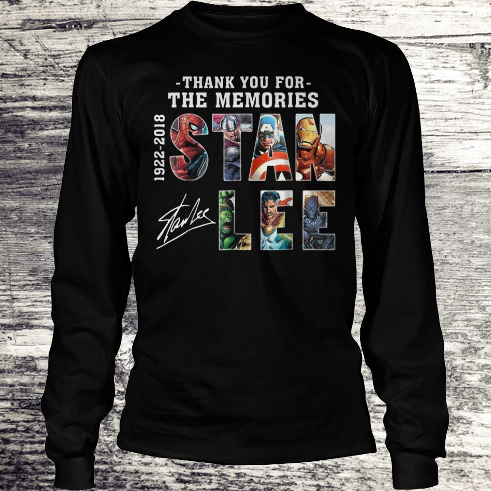 Original Stan Lee Text Graphic Thank you for the memories shirt Longsleeve Tee Unisex