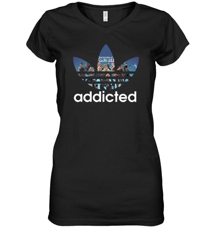 Premium Fortnite Addicted Adidas Ladies Tee