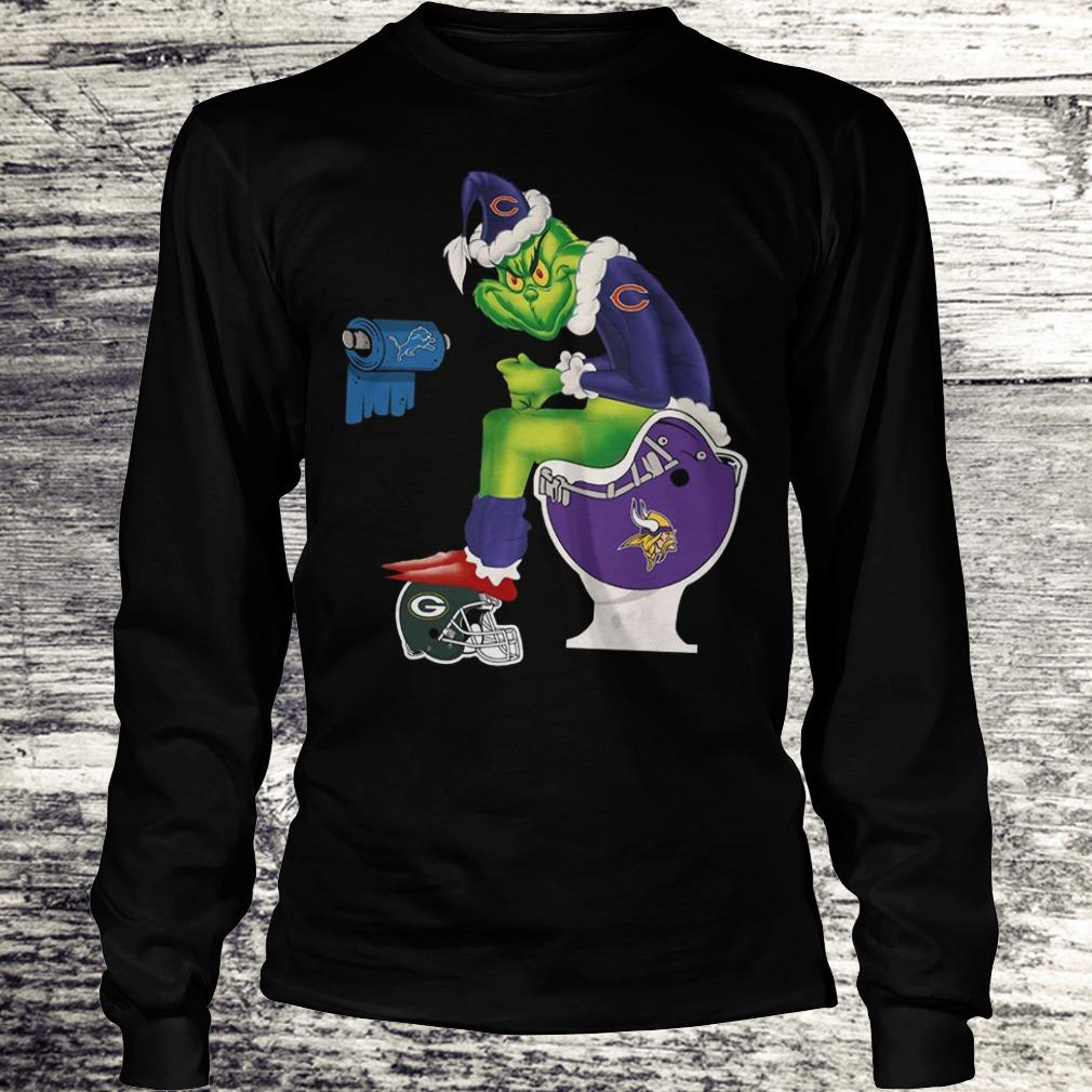 The best Chicago Bears Grinch Santa Toilet shirt Longsleeve Tee Unisex