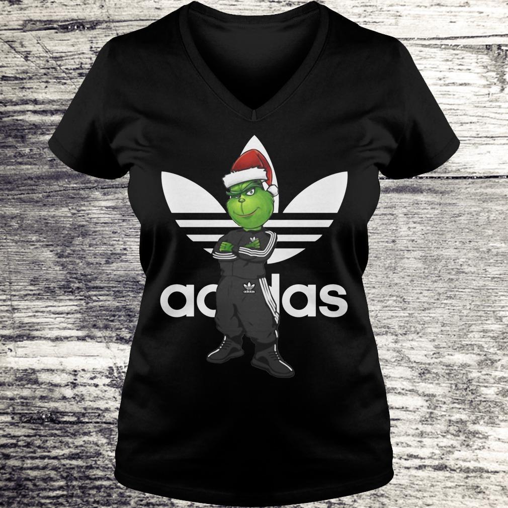 The best Grinch Santa Adidas shirt Ladies V-Neck