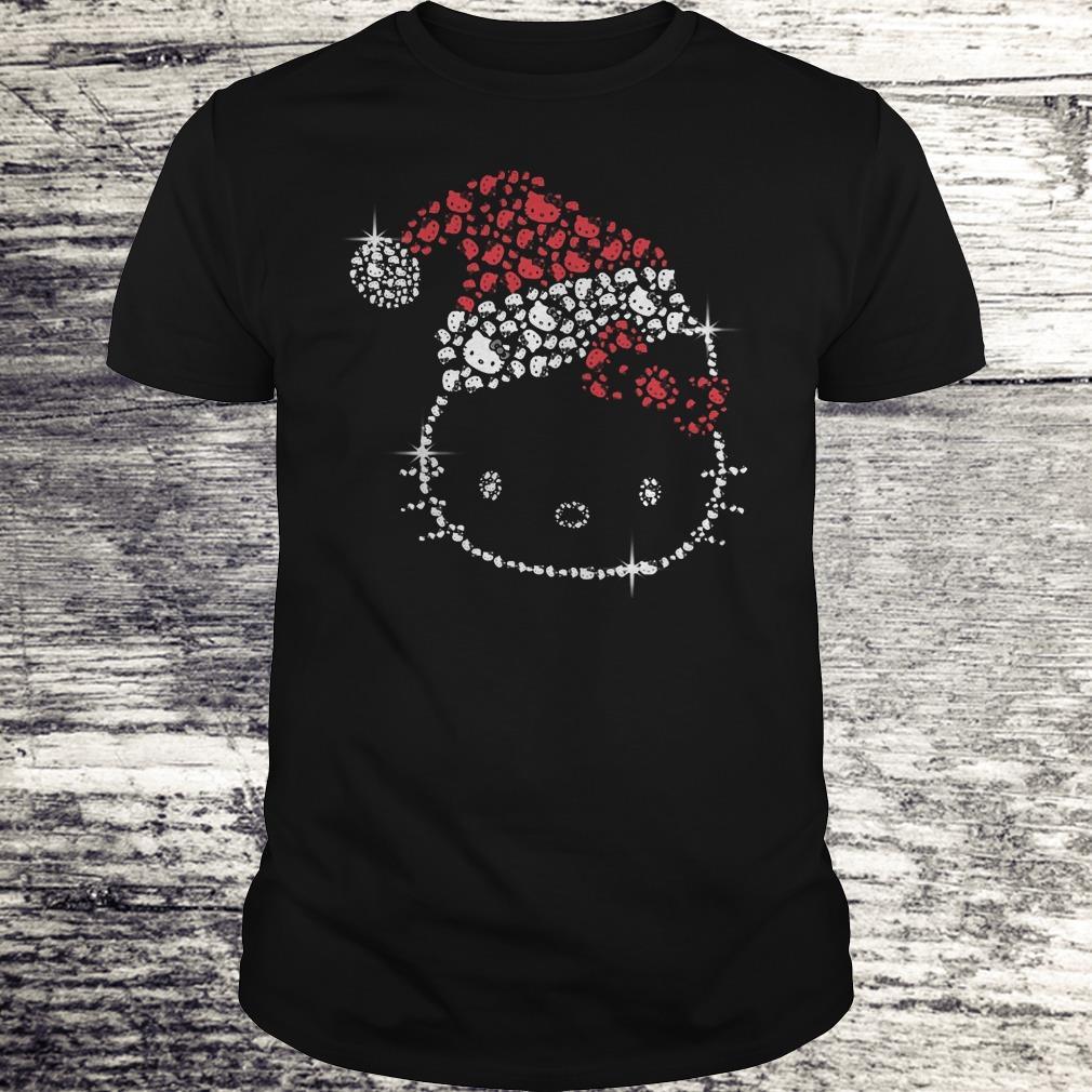 Top Hello Kitty Santa Hat Rhinestone shirt Classic Guys / Unisex Tee