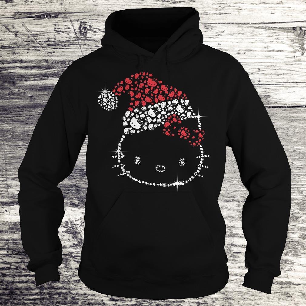 Top Hello Kitty Santa Hat Rhinestone shirt Hoodie