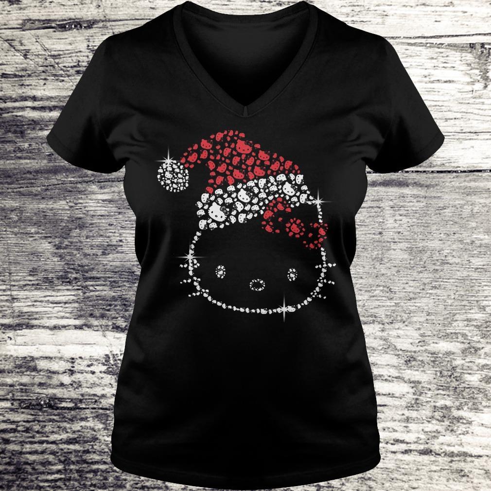 Top Hello Kitty Santa Hat Rhinestone shirt Ladies V-Neck