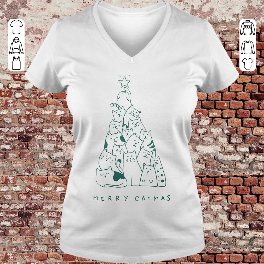 Awesome Merry catmas shirt sweater Ladies V-Neck
