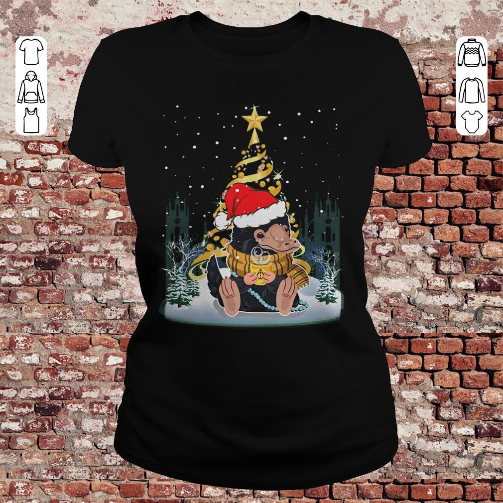 Funny Christmas Tree Under Snow Niffler Santa Hat Shirt Sweater Classic Ladies Tee.jpg