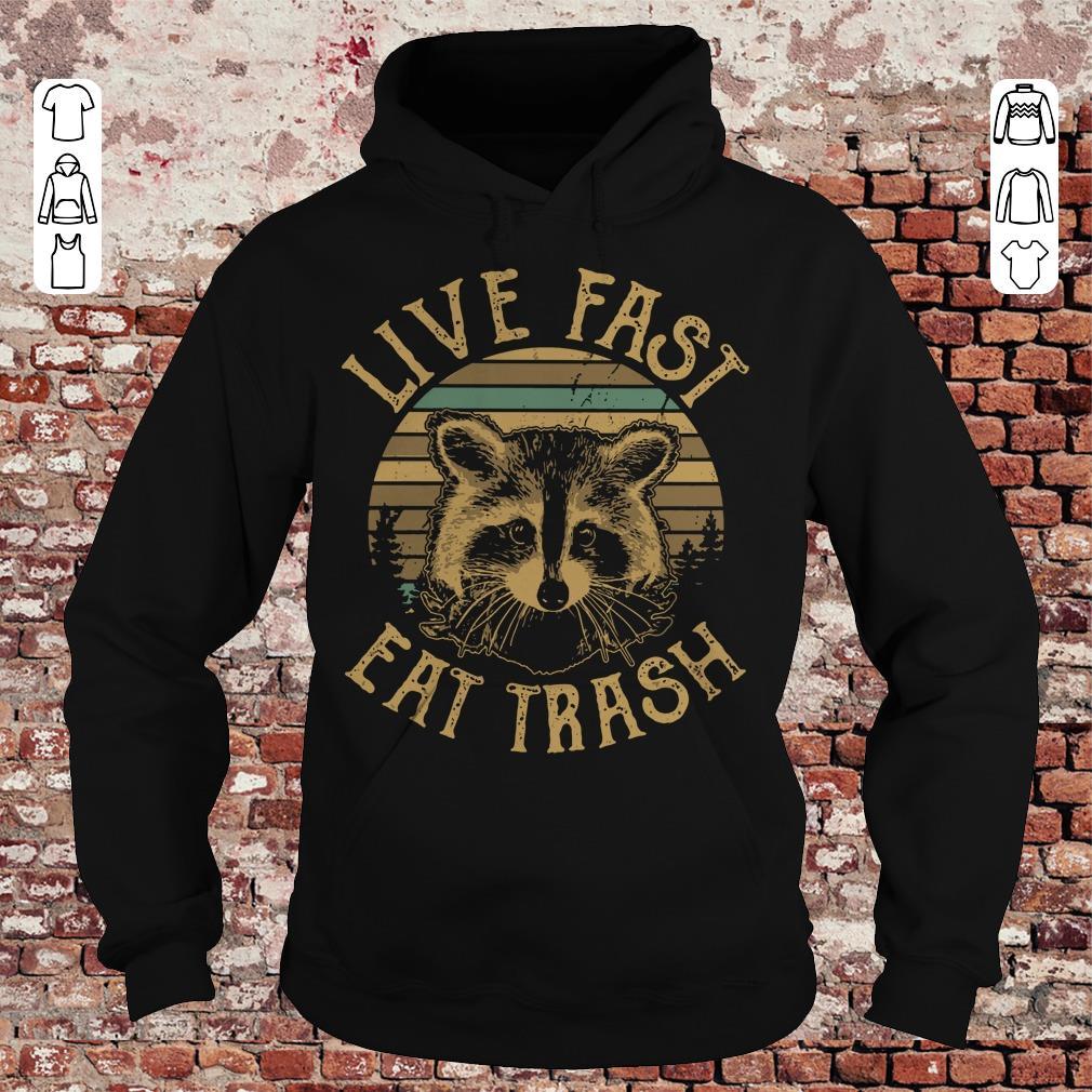 Original Sunset Camping Live fast eat trash Raccoon shirt longsleeve Hoodie
