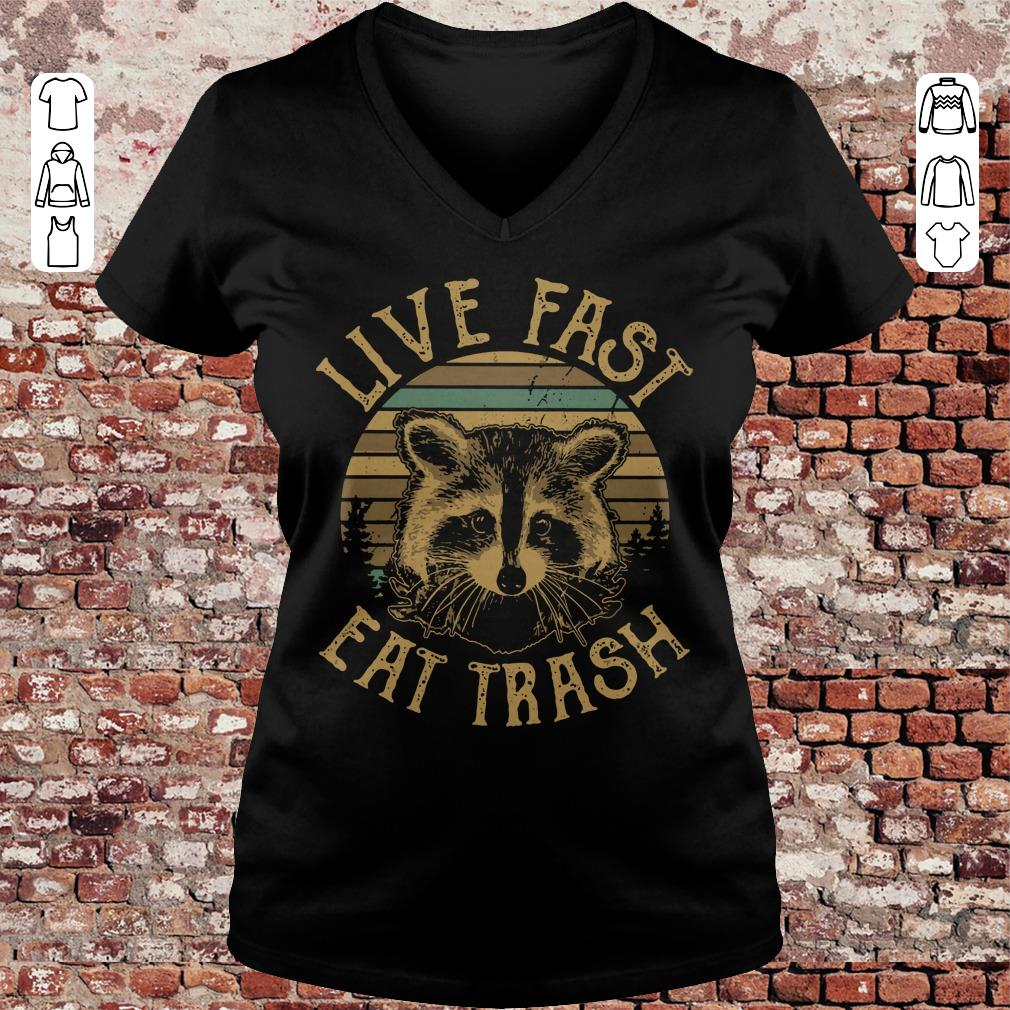 Original Sunset Camping Live fast eat trash Raccoon shirt longsleeve Ladies V-Neck