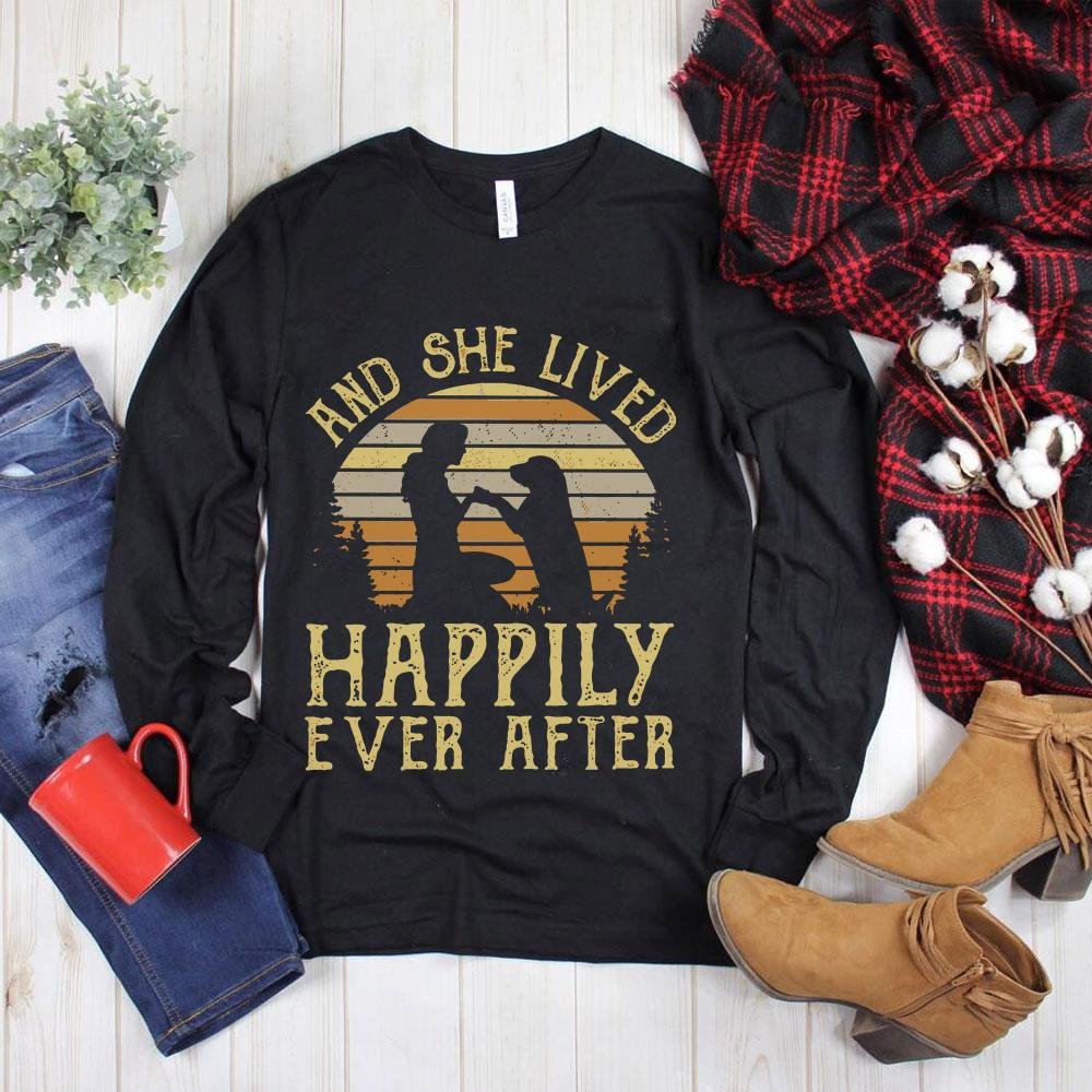 Hot Sunset Retro Style Girl and her dog She lived happily ever after shirt