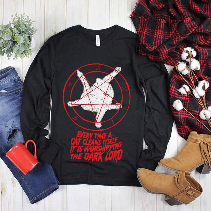 Every time a cat cleans itself it is worshipping the Dark lord Pentagram Cat shirt