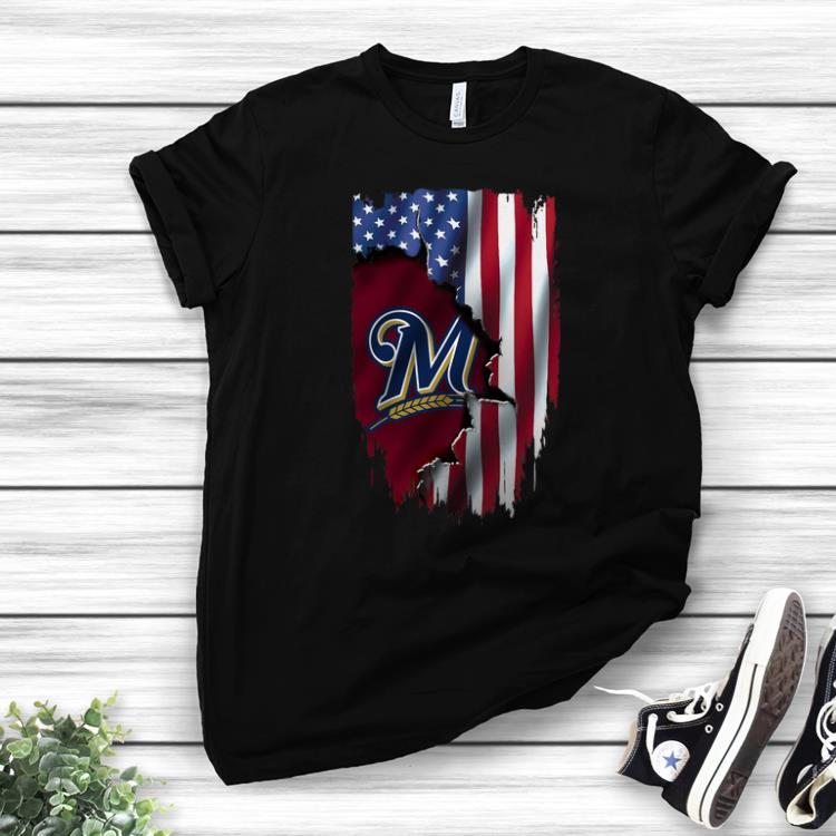 American Flag Milwaukee Brewers MLB Mashup