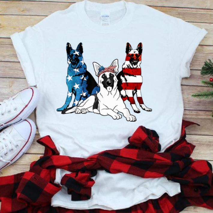 American German Shepherd Patriotic Us Flag 4th Of July sjirt