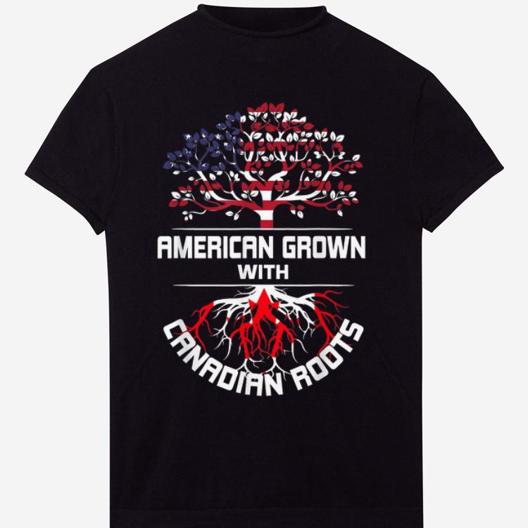 Awesome American Grown With Canadian Roots USA Flag Happy Independence Day And Canada Day shirt