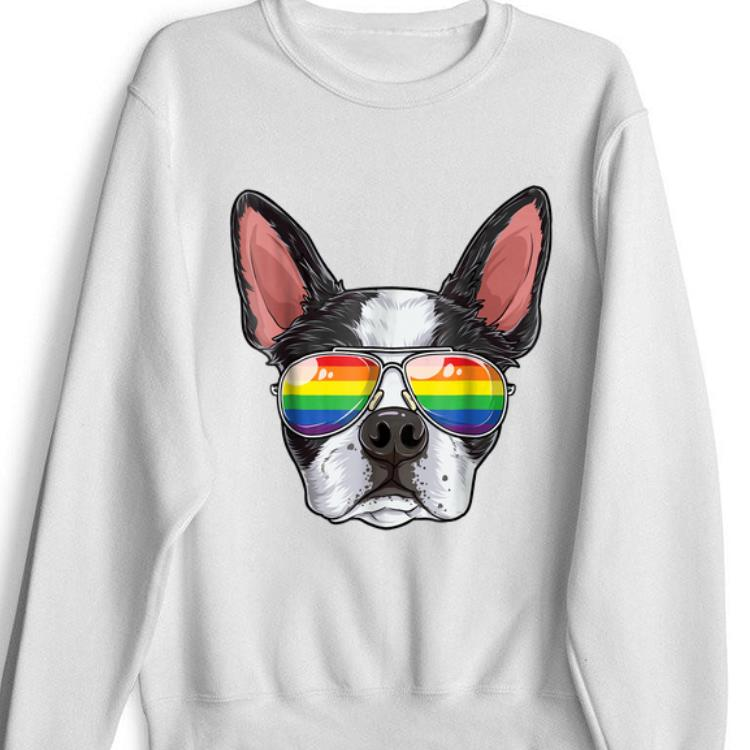 Boston Terrier Gay Pride Flag Sunglasses Lgbt Puppy shirt