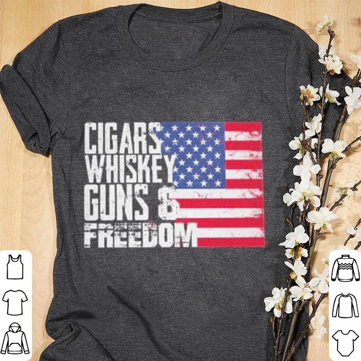 Funny American flag Cigars whisky guns and freedom shirt