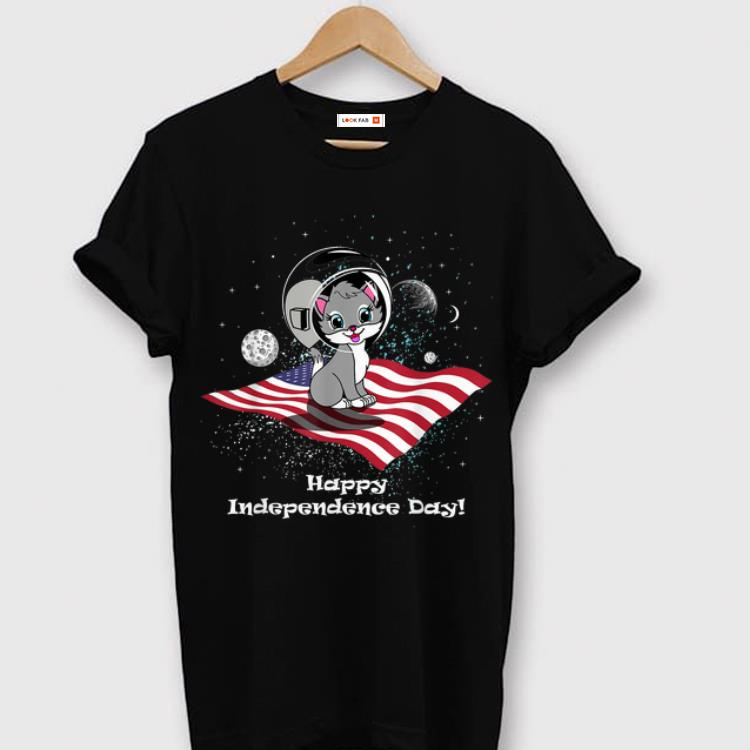 Nice 4th Of July Space Cat American Flag shirt