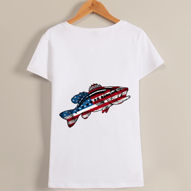 Original 4th Of July Fishing American Flag Bass Shirt