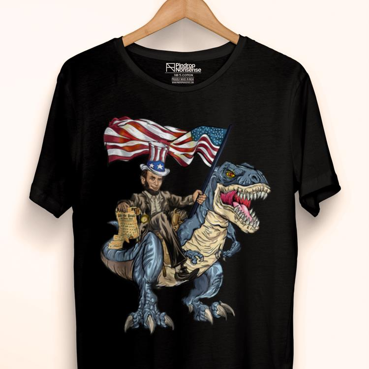 Premium Abe Lincoln Murica T- Rex 4th Of July Usa Flag Shirt