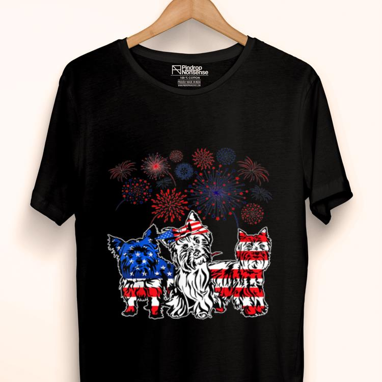 Premium Yorkie 4th Of July America Flag Firework Happy Independence Day shirt