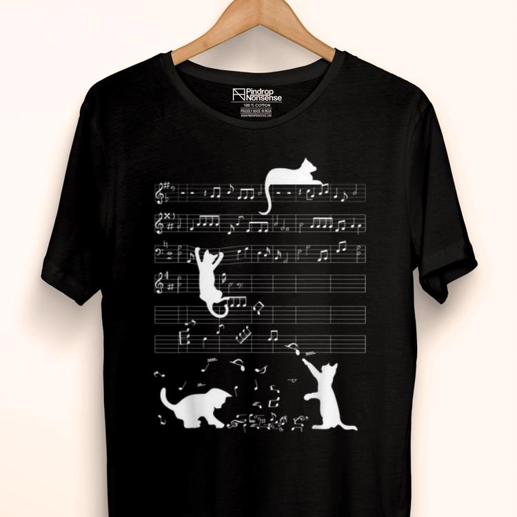 Awesome Cute Cat Kitty Playing Music Lover Clef Piano Music Loverian Art shirt