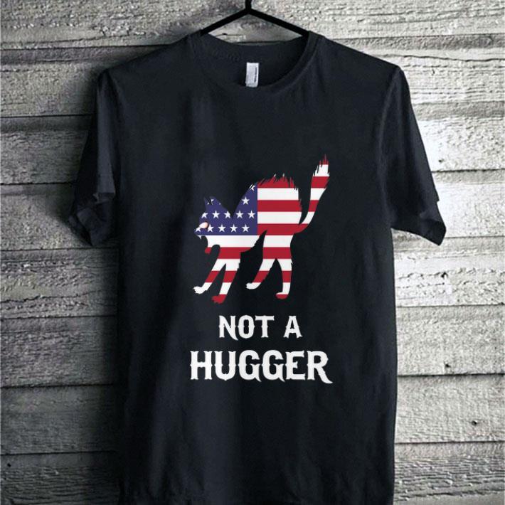 Funny American flag cat not a hugger shirt