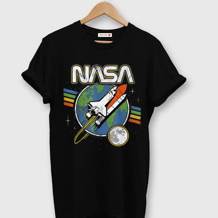 Official NASA Blast Off Retro Rainbow Stripes 50th Year Anniversary Apollo 11 shirt