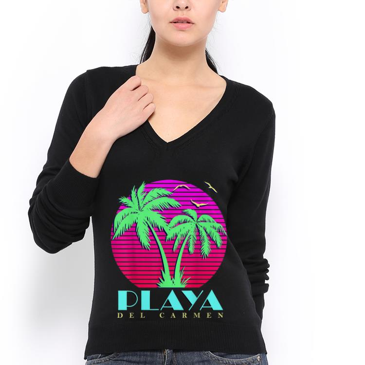0ea29f69c99837 Premium Summer Sunset Playa Del Carmen Mexico 80s Palm Trees Beach shirt