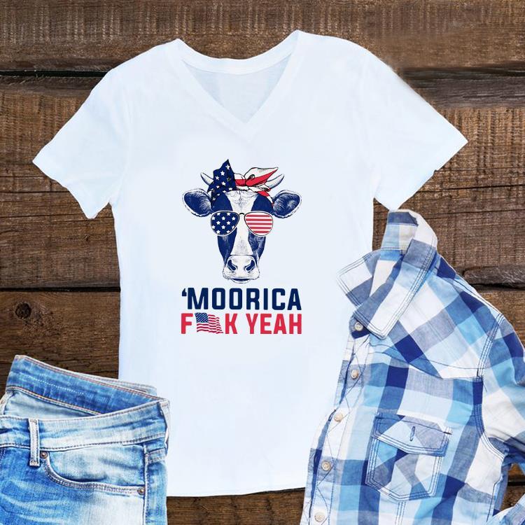 Awesome Moorica Fuck Yeah Cow American Flag shirt