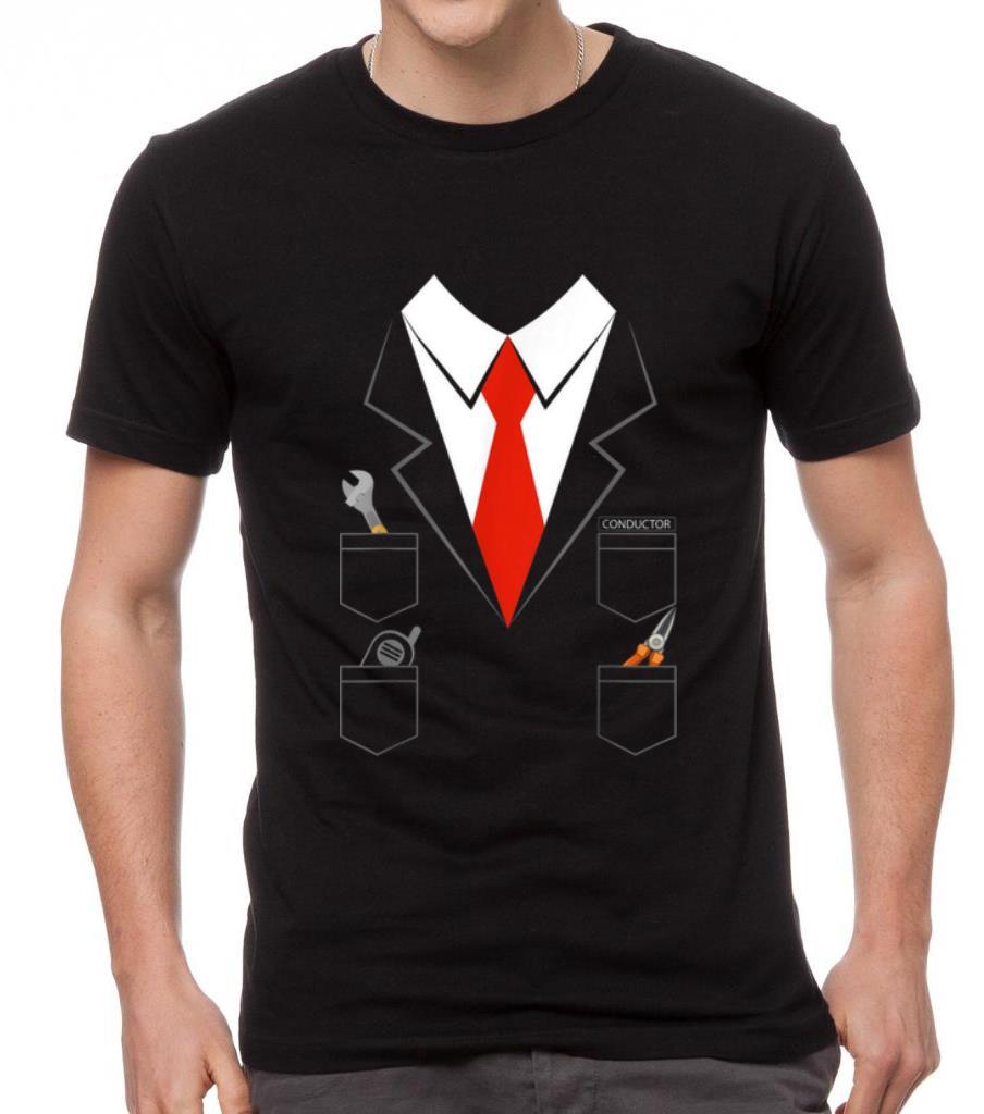 Halloween Train Conductor Costume Youth Long Sleeve T Shirt