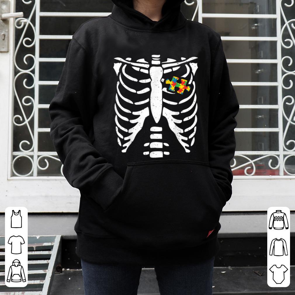 Pretty Autism Halloween Costume Puzzle Skeleton Bone Rib Tee shirt