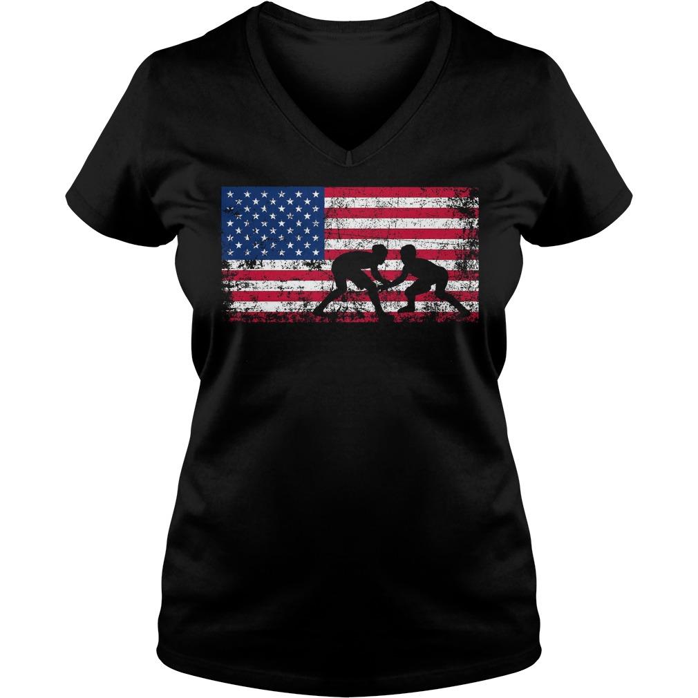 American Flag Wrestling V Neck
