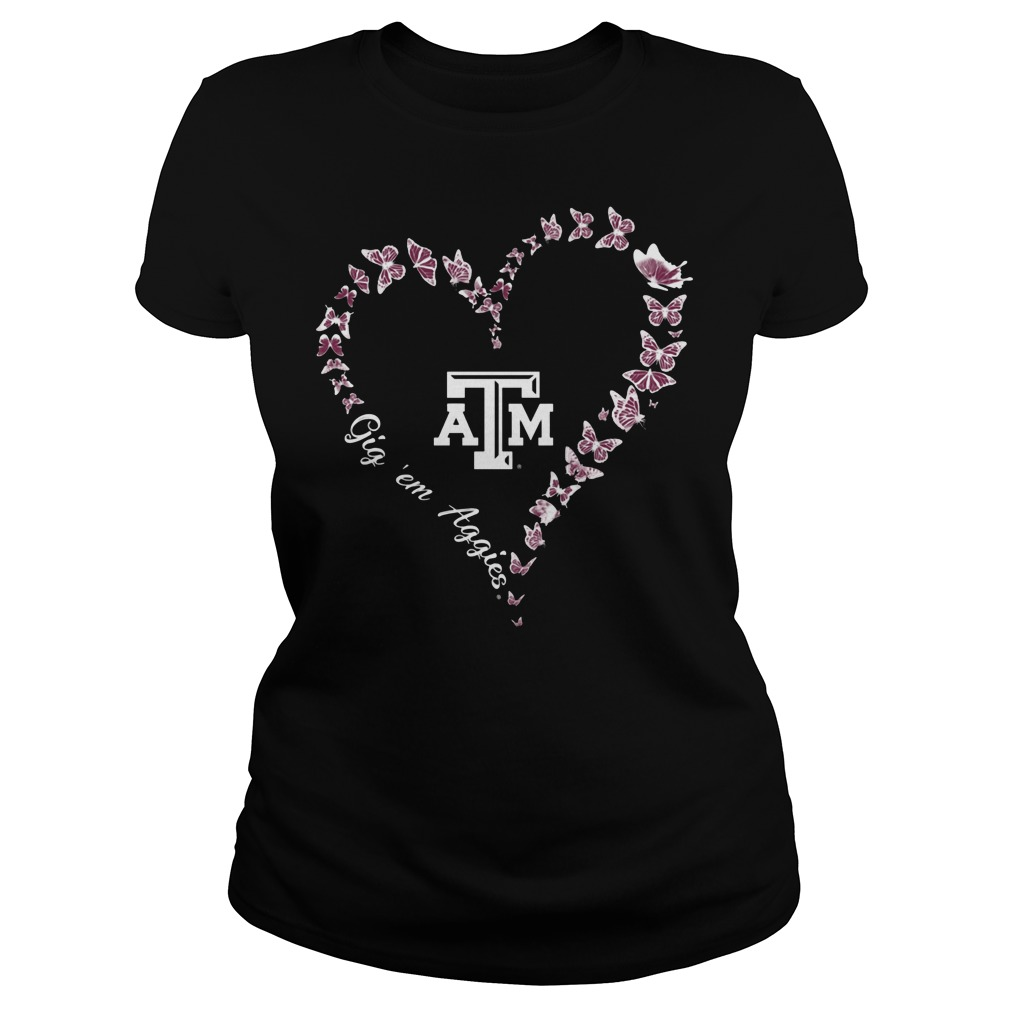 Texas Am Aggies Butterflies Heart Ladies