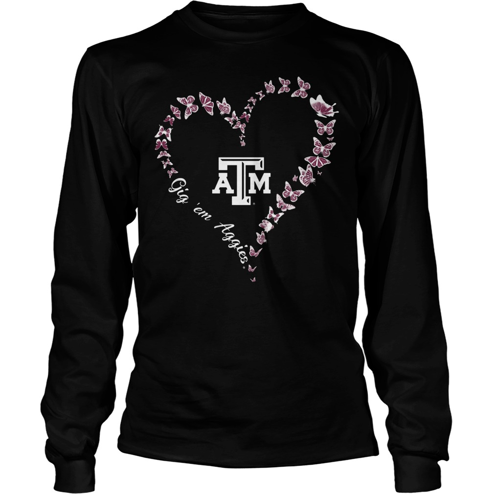 Texas Am Aggies Butterflies Heart Longsleeve